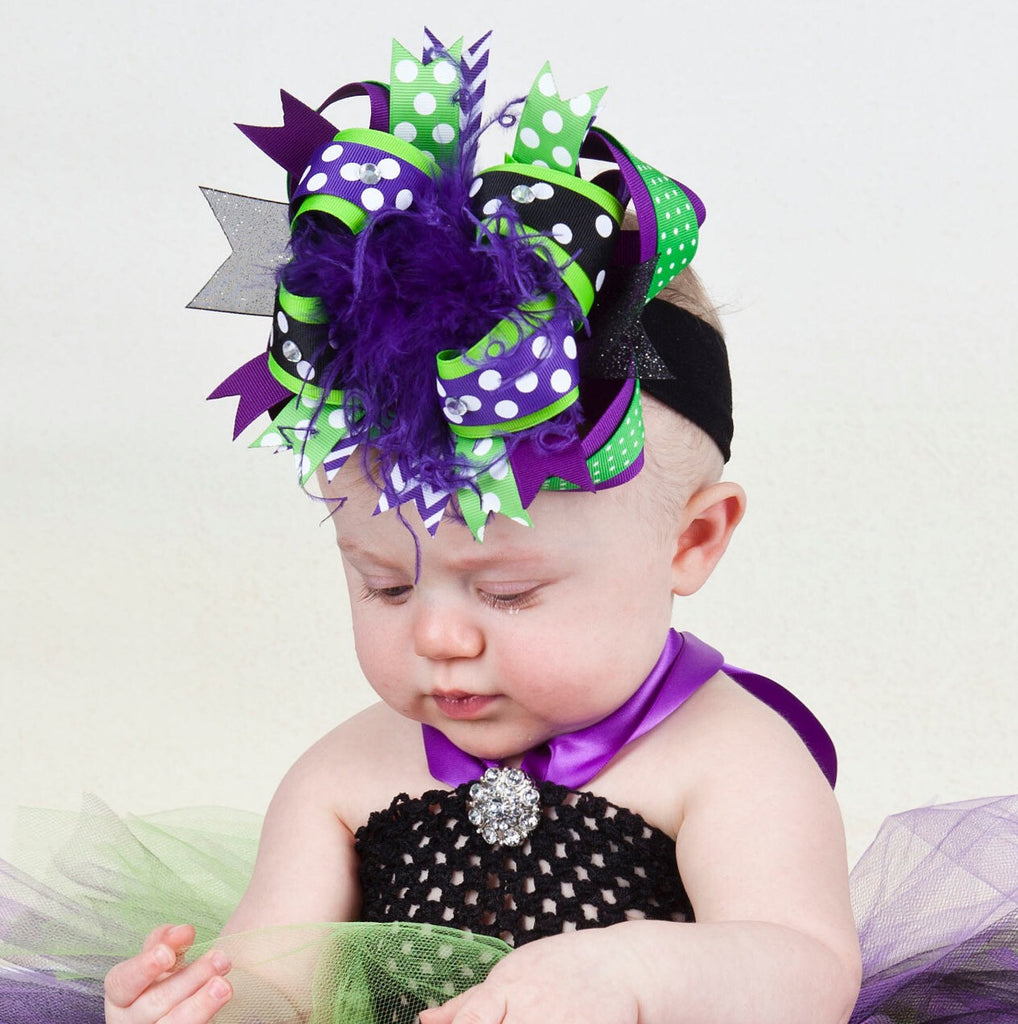 Witch Hair Bow Purple Green Black Over the Top