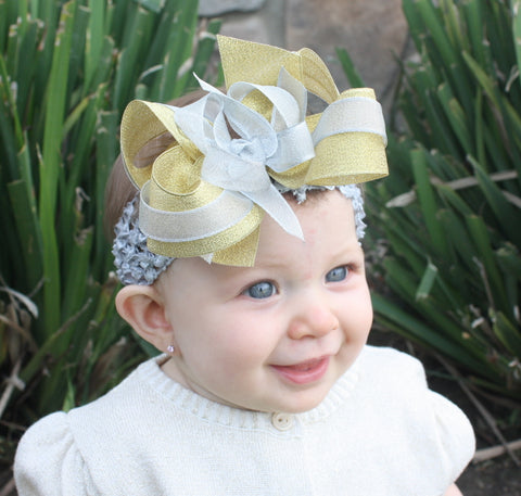 Fancy Metallic Gold & Silver Girls Hair Bow Clip or Headband