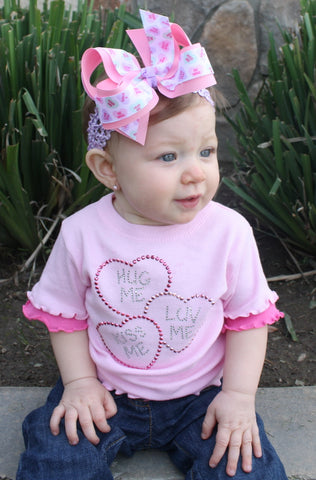 Conversation Hearts Valentines Hair Bow, Valentines Day Baby Headband