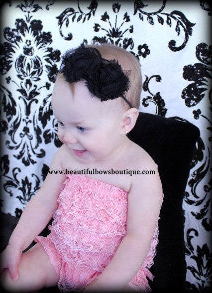 Shabby Black Rose Chiffon Fabric Flower Headband for Babies and Girls