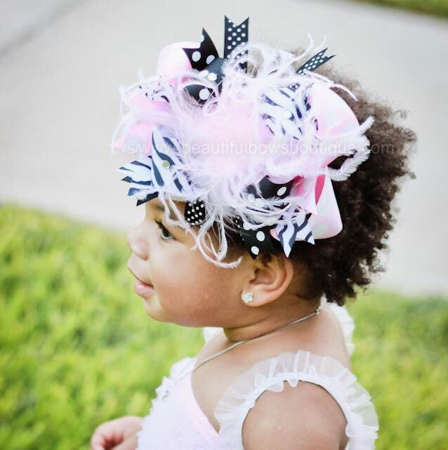 Polka Dot Pink Black Zebra Over the Top Big Hair Bow Clip or Headband
