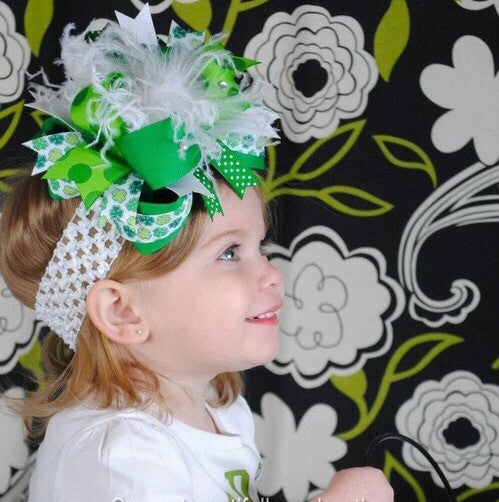 Buy Over the Top Saint Patrick's Day Big Green Shamrock Girls Hair Bow Clip or Headband Online