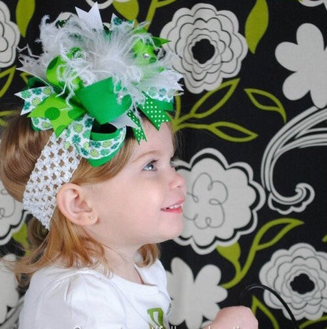 Over the Top Saint Patrick's Day Big Green Shamrock Girls Hair Bow Clip or Headband