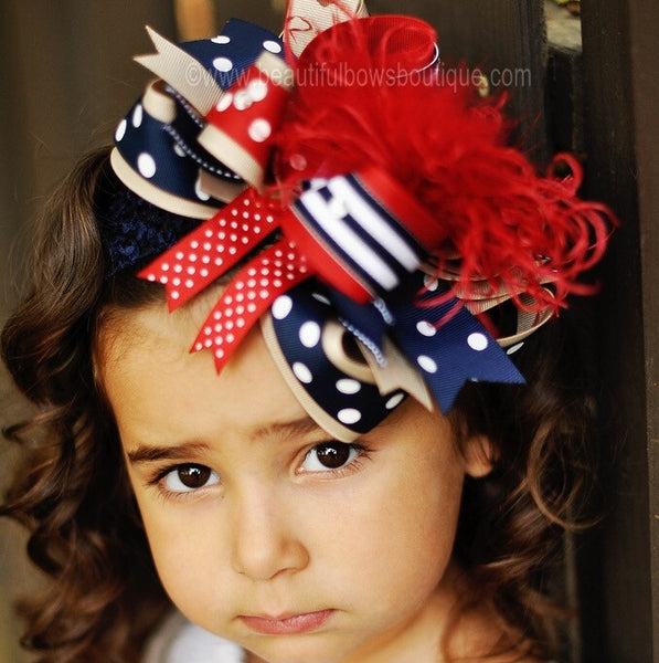 Navy Red and Khaki School Uniform Girls Hair Bow Clip