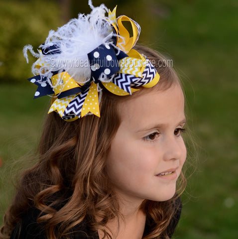 Navy Blue and Yellow Chevron School Uniform Over the Top Hair Bow Clip or Headband