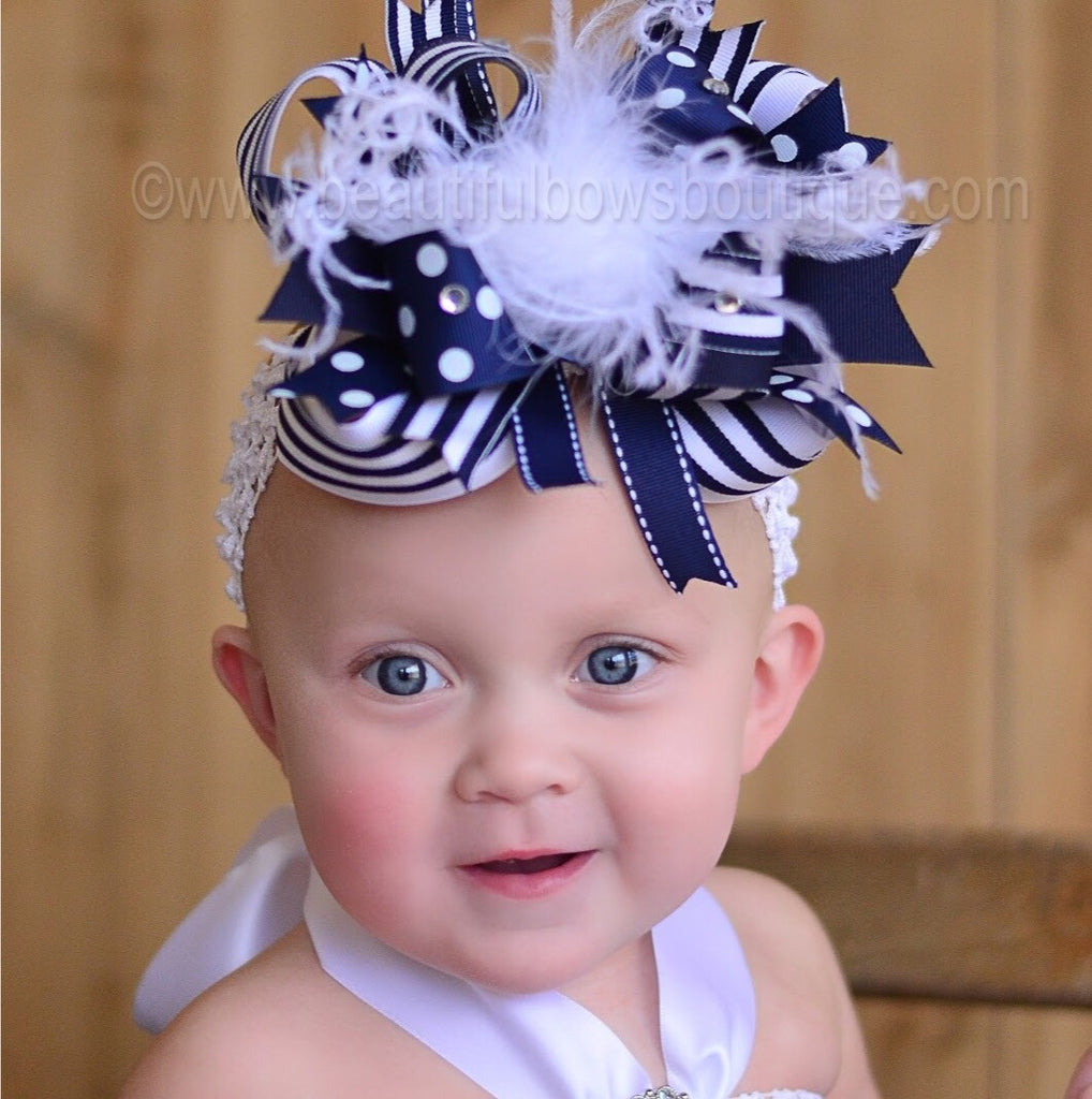 OTT Boutique Hair Bow Navy Blue White Headband