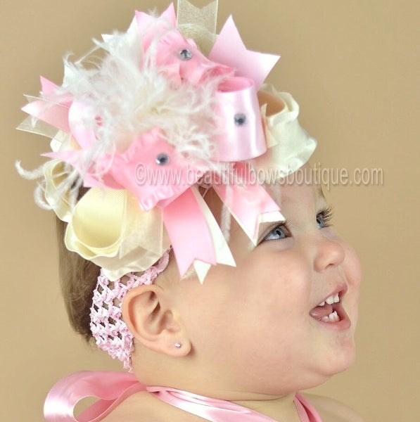 Light Ivory Ruffle and Pink Satin Over The Top Girls Hair Bow Clip or Headband