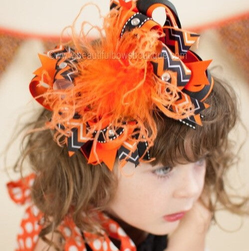 Black and Orange Over the Top Hair Bow, Halloween Headband Baby Toddler
