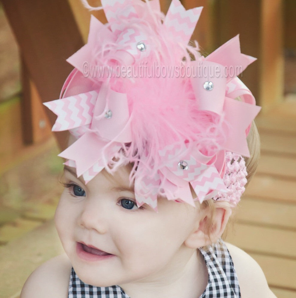 Boutique Pink Chevron Over the Top Big Hair Bow
