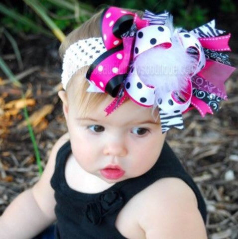 Shocking Hot Pink Black White Polka Girls Over The Top Hair Bow Clip or Headband