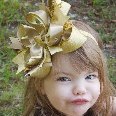 Fancy Large Metallic Gold Girls Hair Bow