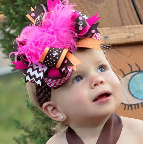 Brown Orange and Pink Over the Top Hair Bow Fall