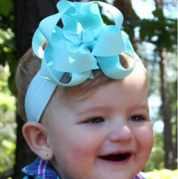 Baby Blue Double Boutique Girls Hair Bow Clip or Headband