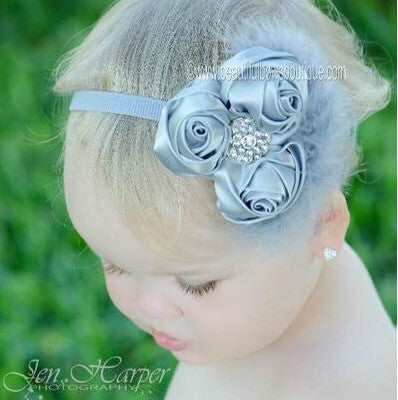 Luxurious Gray Silver Vintage Infant Headband