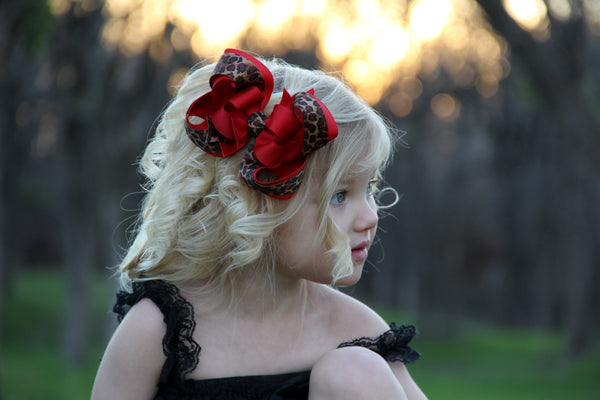 Red Leopard Boutique Hair Bow Headband for Girls - CHOOSE COLOR