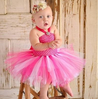 Fancy Shocking Hot Pink and White Tutu Dress for Babies Infants Toddlers