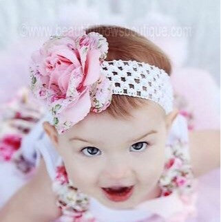 Floral Pink Flower Clip or Headband