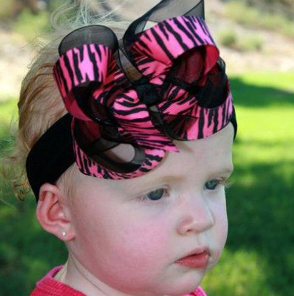Hot Pink Black Zebra Girls Hair Bow Clip or Headband