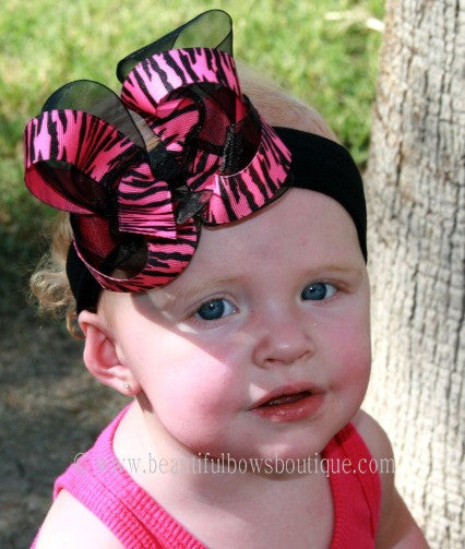 Buy Hot Pink Black Zebra Girls Hair Bow Clip or Headband Online