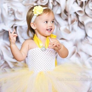 Lacey Yellow Bloom Bitty Flower Headband