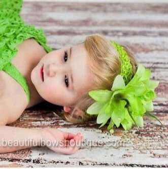 Lime Green Rose Infant Toddler Flower Headband