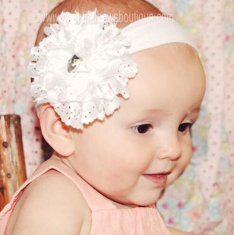 White Lace Rose Flower Baby Girl Headband