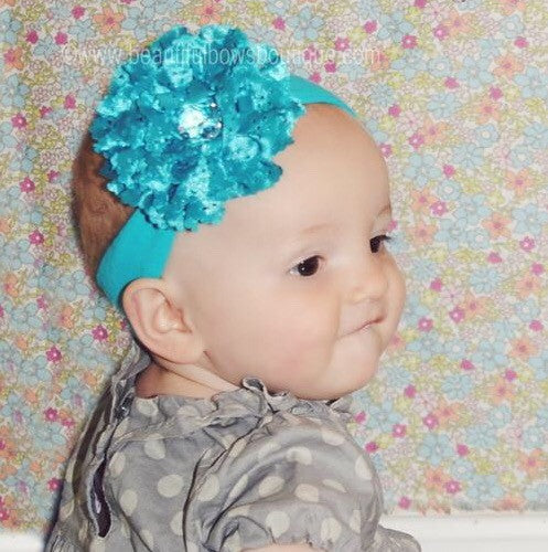 Turquoise Lace Rose Flower Baby Girls Headband