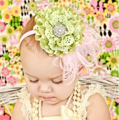 Soft Green Pink Rose Feather Vintage Baby Girl Headband