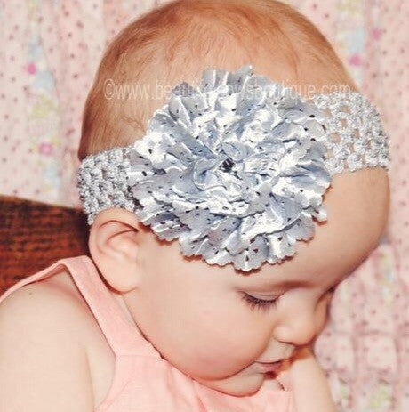 Silver Lace Rose Baby Flower Headband
