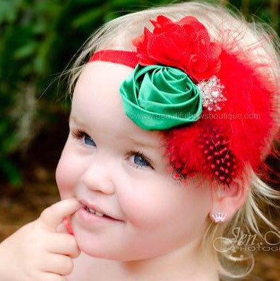 Red and Green Vintage Style Christmas Baby Toddler Headband