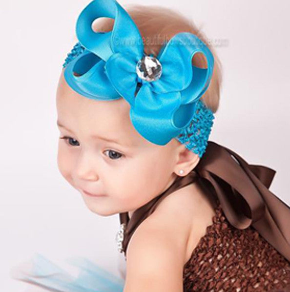 Turquoise Grosgrain Shimmer Bling Girls Hair Bow Clip or Headband
