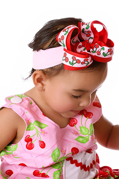 Infant Pink Cherries Girls Hair Bow Clip or Baby Headband