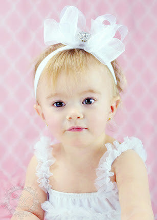 Fancy White Organza Hair Bow Headband for Babies