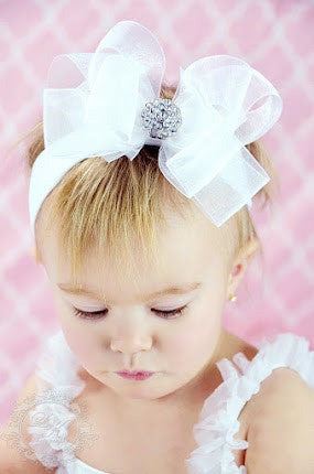 Buy Fancy White Organza Hair Bow Headband for Babies Online