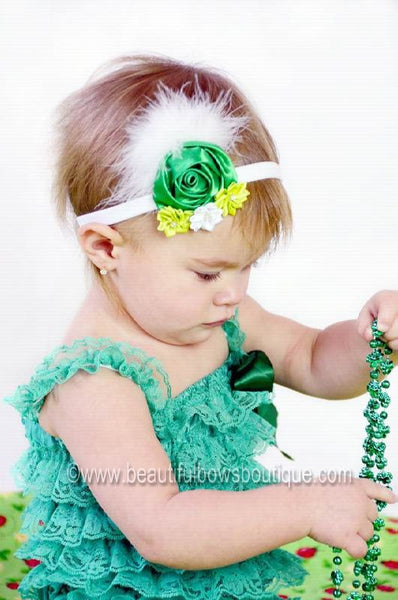 St. Patricks Day Dazzle Rosette Hair Clip or Headband