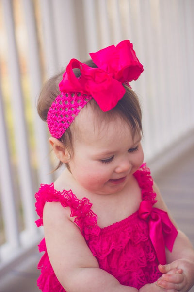 Hot Pink Lace Romper,Hot Pink Romper Baby Infant Toddler