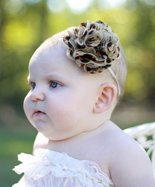 Vintage Brown Leopard Satin Tulle Flower Girls Bitty Headband