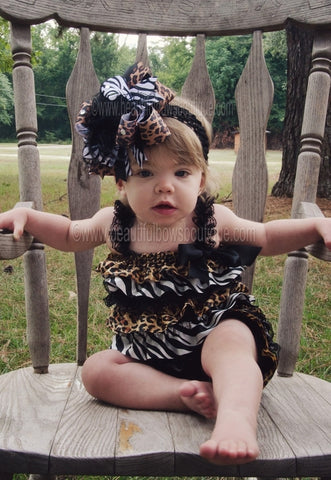 Big Boutique Safari Leopard Zebra Over the Top Girls Hair Bow Headband
