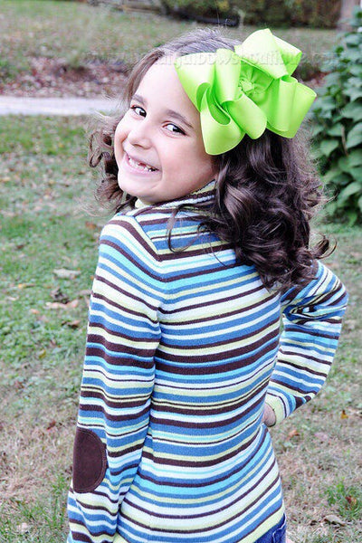 Extra Large Lime Green Hair Bow, Lime Green Hair Bow Texas Size