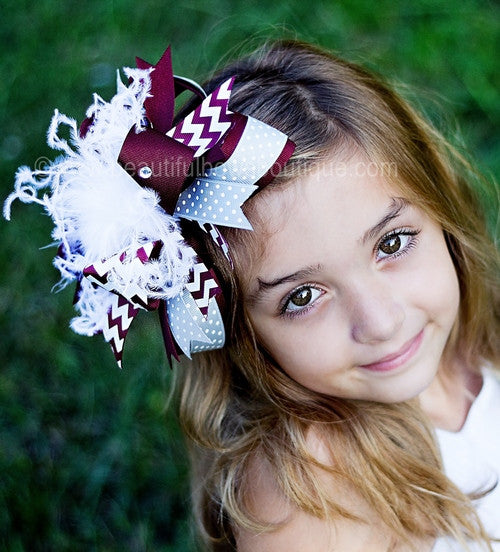 Maroon and Grey Hair Bow,Texas A&M Bow,Grey and Maroon Headband