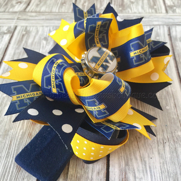 Michigan Baby Headband, University of Michigan Bows, College Hair Bows