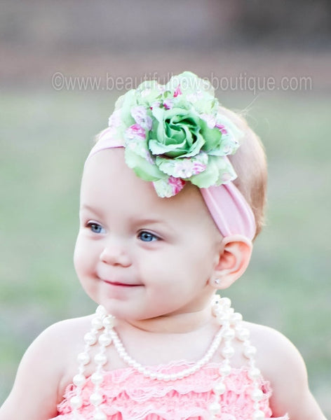 Floral Green Flower Clip or Headband