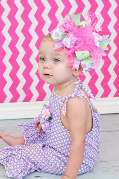 Mint, Lavender, and Hot Pink Easter Over the Top Girls Hair Bow Clip or Headband