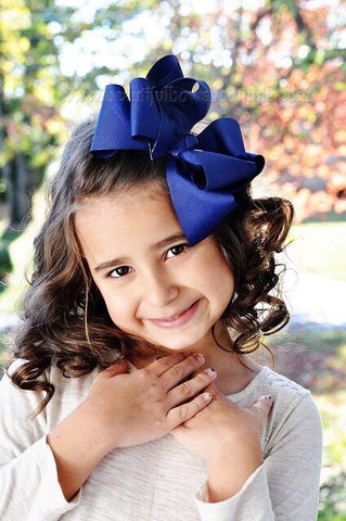 Extra Large Light Navy Blue Hair Bow, Navy Blue Hair Bow Texas Size