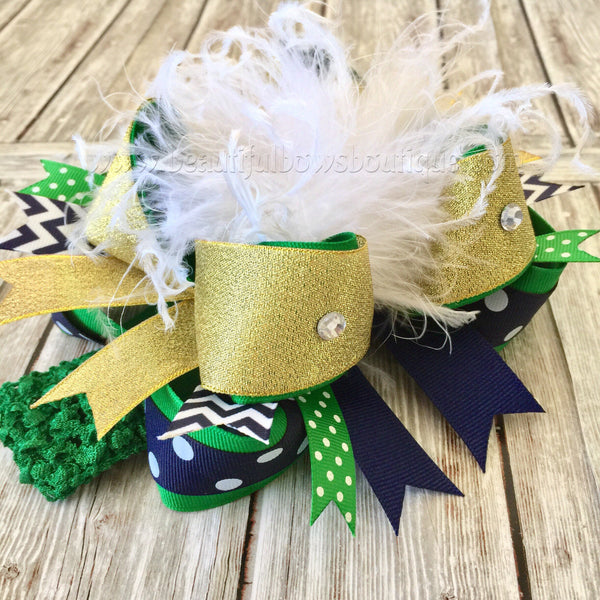 Buy Green and Navy Blue Hair Bow,School Uniform Bows, OTT Online
