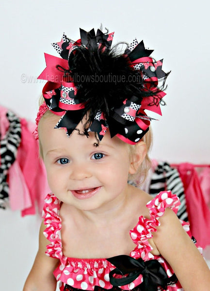 Hot Pink Minnie Mouse Over the Top Hair Bow,Mouse Hair Bow,Minnie Mouse Birthday