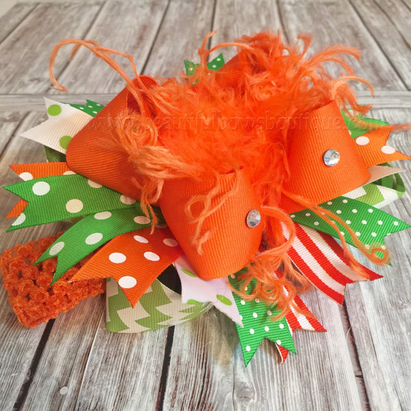Buy Pumpkin Orange and Green Over the Top Hair Bow,Big Halloween Hair Bows Online