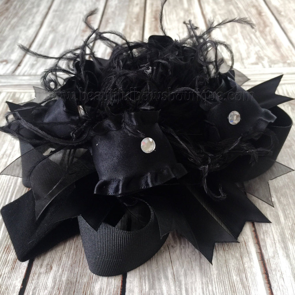 Solid Black Over the Top Hair Bow Baby Headband,Black Bow Headband