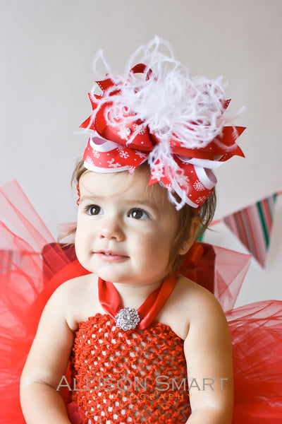 Fluffy Red Snowflake Over the Top Bow Headband