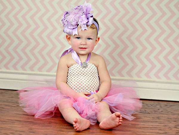 Boutique Lavender Hair Bow Headband for Girls Babies